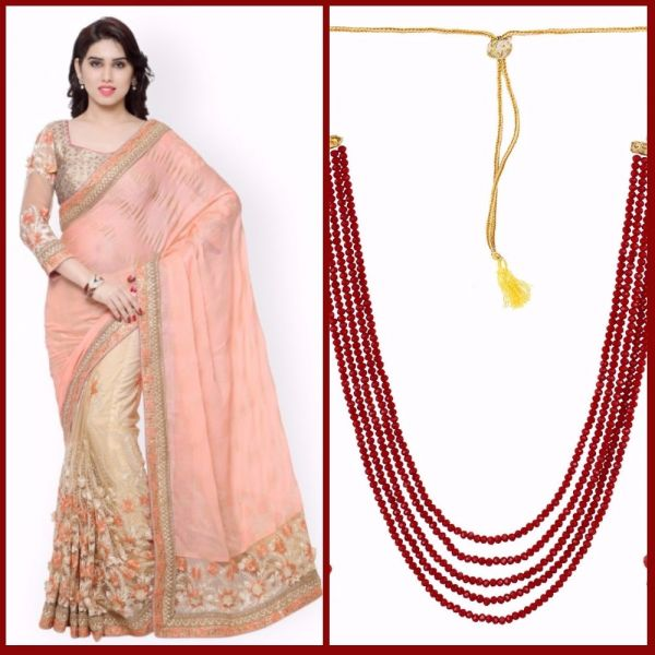 1 first karva chauth pink saree red necklace