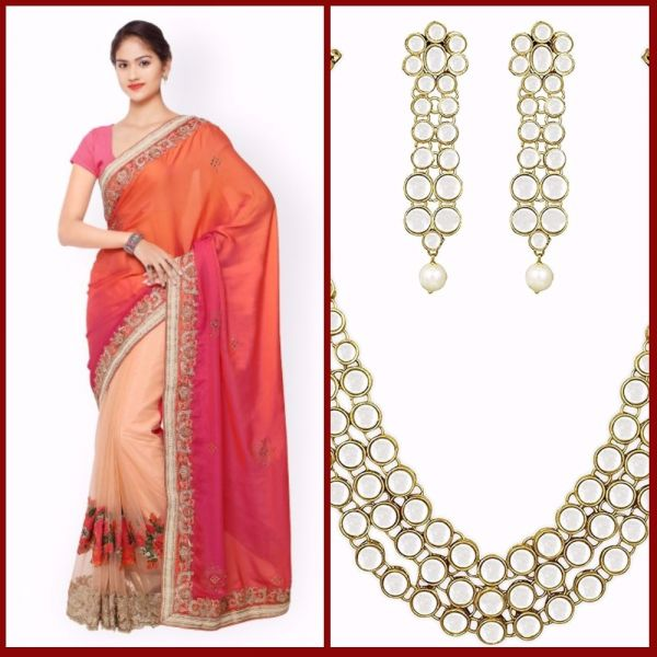 2 first karva chauth multi coloured saree kundan set