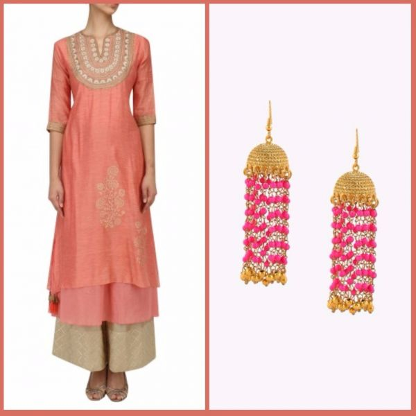 5 first karva chauth kurta and earrings