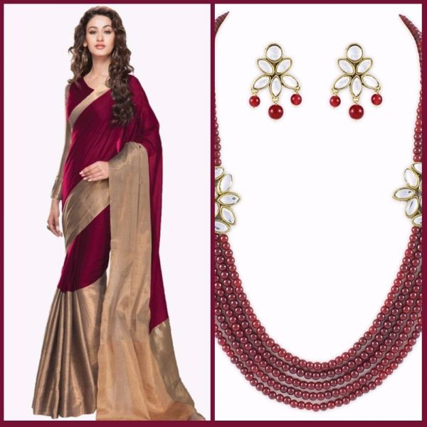 7 first karva chauth red and gold saree and statement necklace