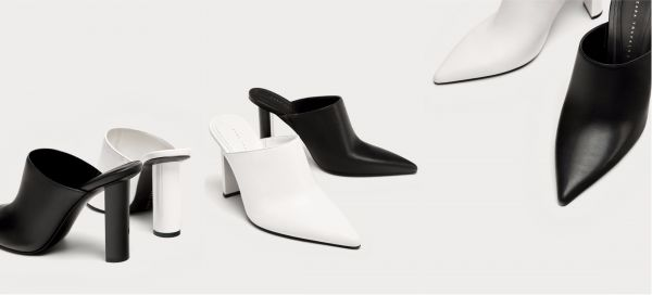 3 zara - black and white mules