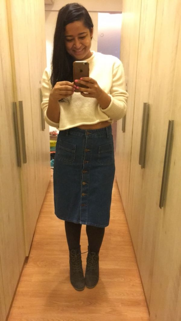 1 wear your denim skirt in different ways