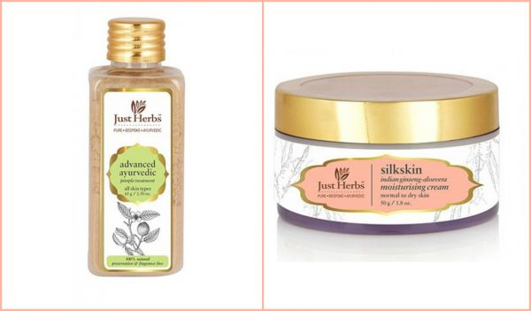 4 indian organic beauty brands Just Herbs Pimple Treatment aloe vera gel