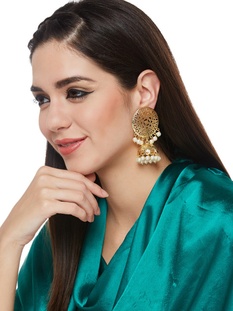 2 padmavati jewellery gold toned jhumkas