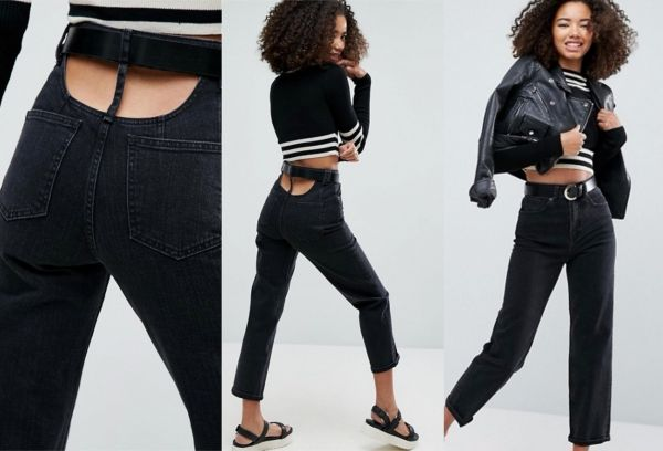 1 butt crack jeans - ASOS High Waisted Straight Leg Jeans with Open Back in Ashes Washed Black wit