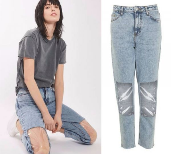 5 butt crack jeans - Clear Knee Mom Jeans