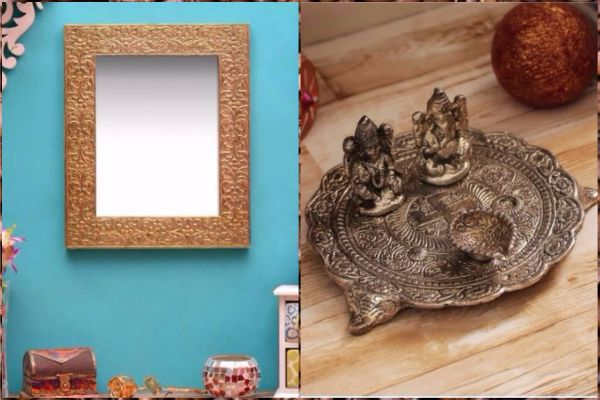 4 online stores - pepperfry gold ethnic embossed mirror and pooja thali