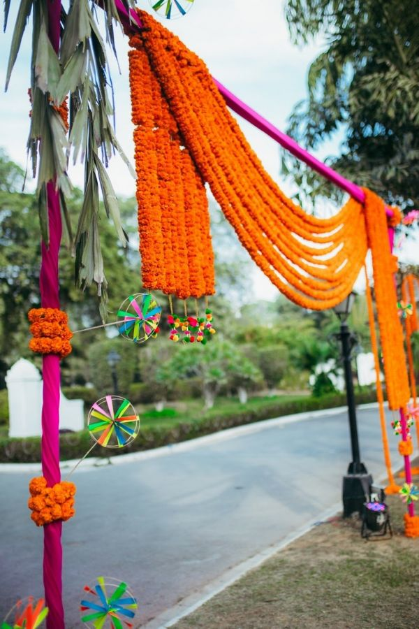 9 day wedding genda phool decor