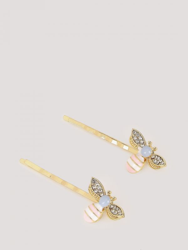 2. Bee Hair Pins - Set Of 2  Blueberry