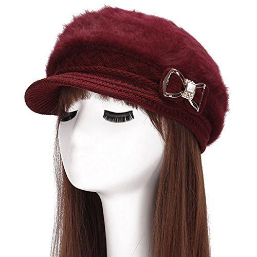 2. Crystal Bow Warm Cabled Angora Knit Winter Beanie Crochet Beret  Surblue Lady