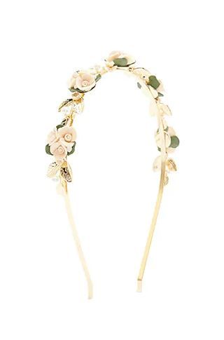 2. Floral Faux Pearl Headband in Gold   Peach  Forever 21