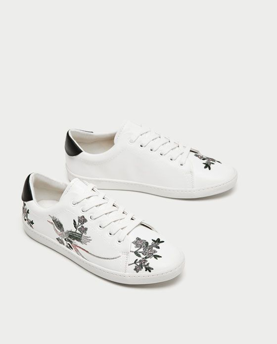 2 embroidered sneakers Zara