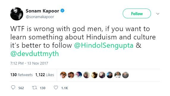 3 homosexuality may be a tendency - sonam kapoor tweet