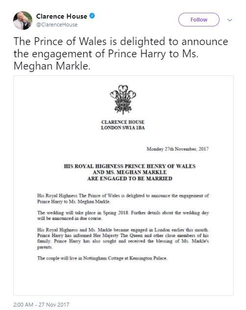 1. Prince harry and meghan markle engagement announcement