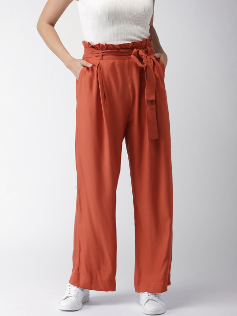 4 belly fat - Rust Regular Fit Solid Parallel Trousers