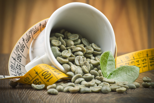 2 green coffee coffee beans spiled