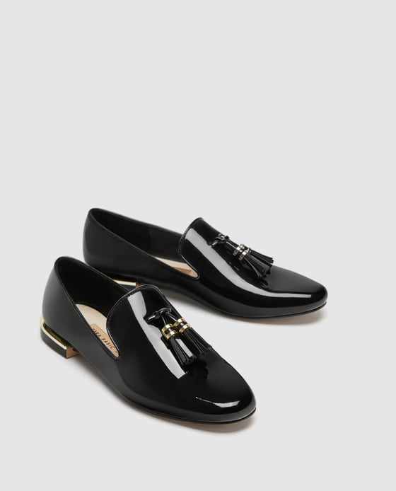 1 loafers - Faux Patent Leather Tassel Loafers Zara