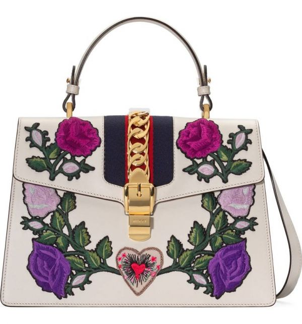 2 lottery - Gucci Floral Patch Leather Shoulder Bag
