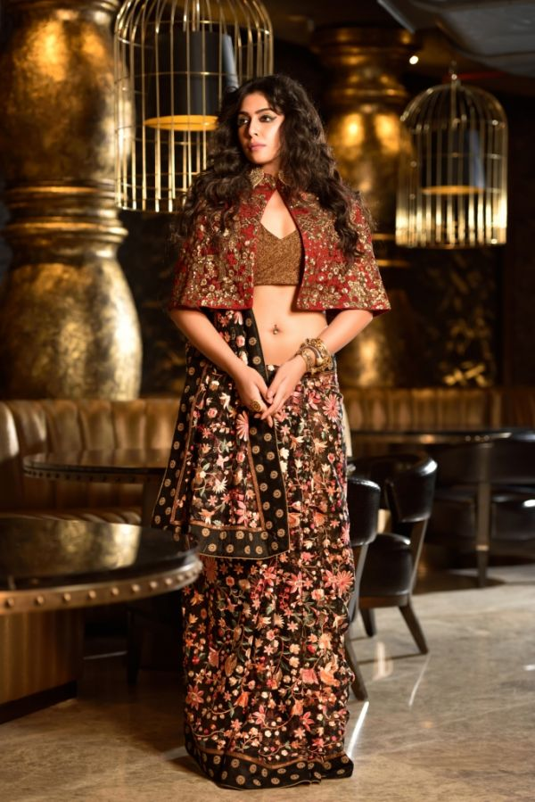 Black soft organza persian embroidery saree with copper crushed blouse  and Burgundy embroidery cape  6