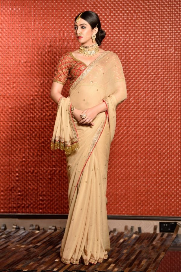 Gold shimmer chiffon embroidered saree with red silk embroidered choli blouse 2