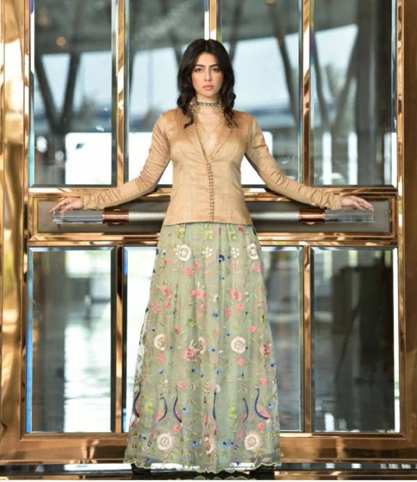 New Green embroidred soft organza box pleated skirt paired with nude silk jacket blouse 1
