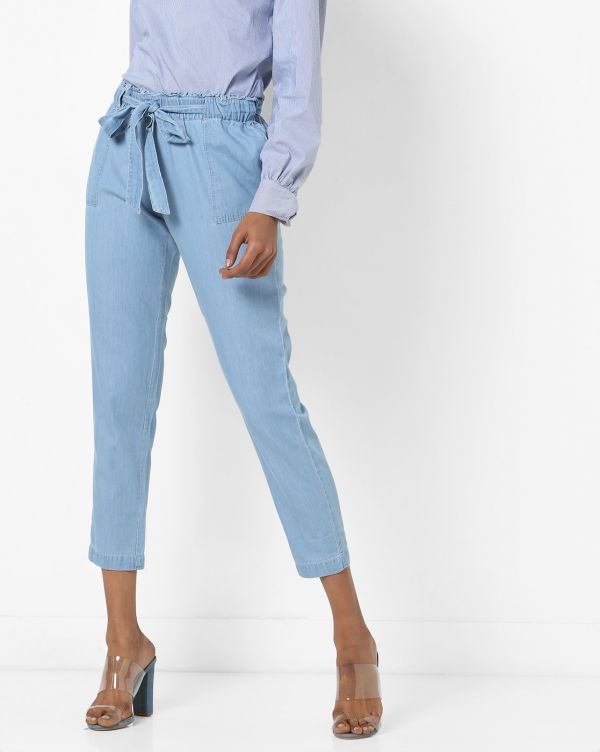 1 paperbag - Ankle-Length Jeans with Paperbag Waist