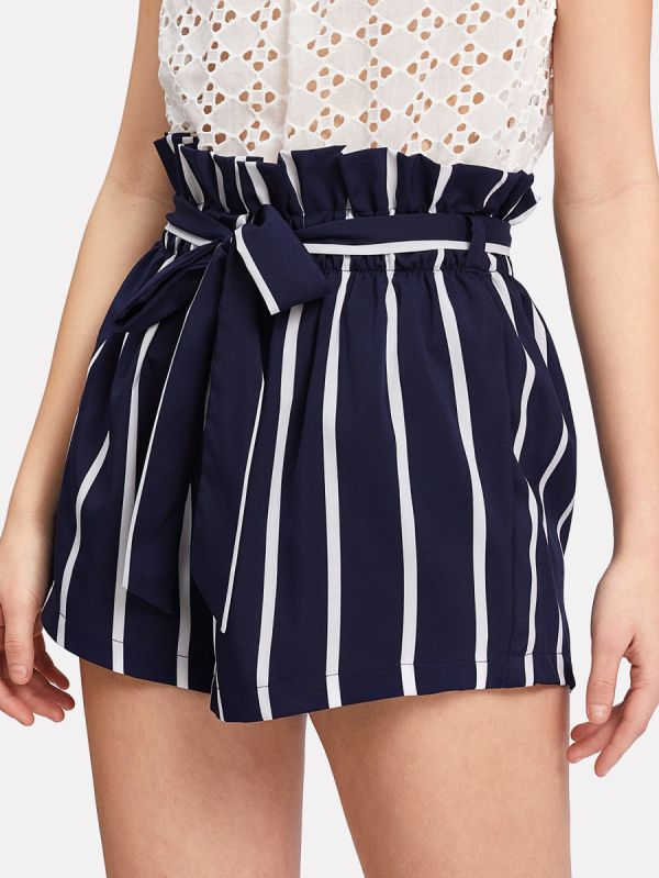 3 paperbag - Belted Ruffle Waist Striped Shorts