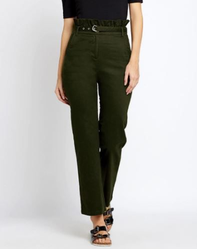 4 paperbag - Olive Ruffle Cotton High Waist Pants