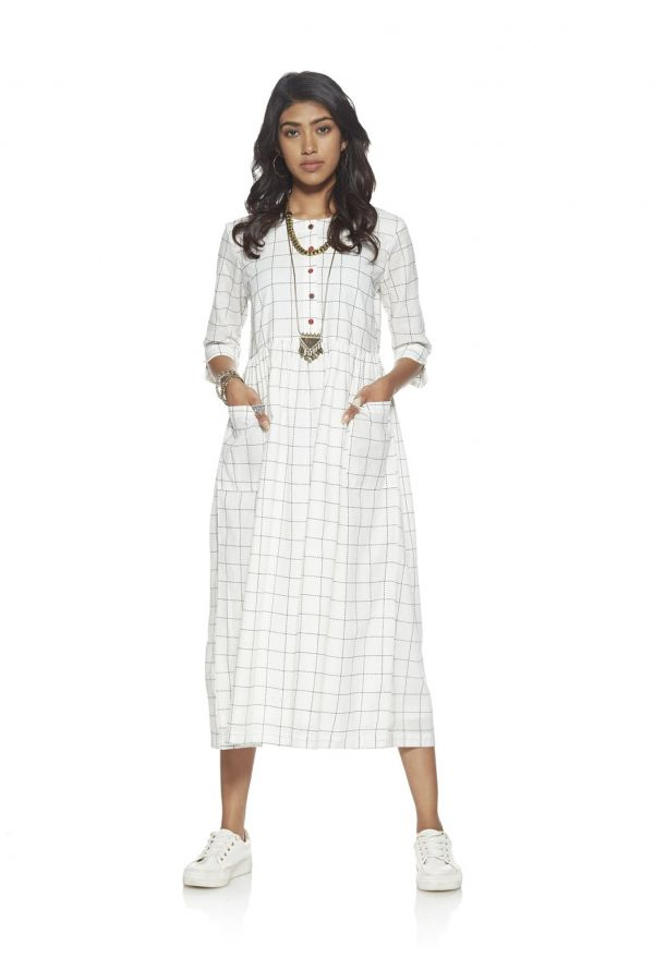 4 dress - Bombay Paisley by Westside White Checked Dress