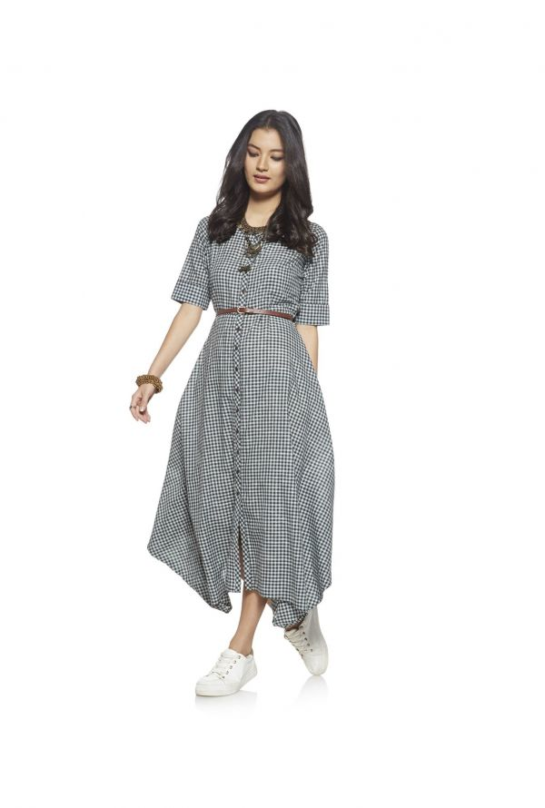 7 dress - Bombay Paisley by Westside Mint Green Checked Dress With Belt