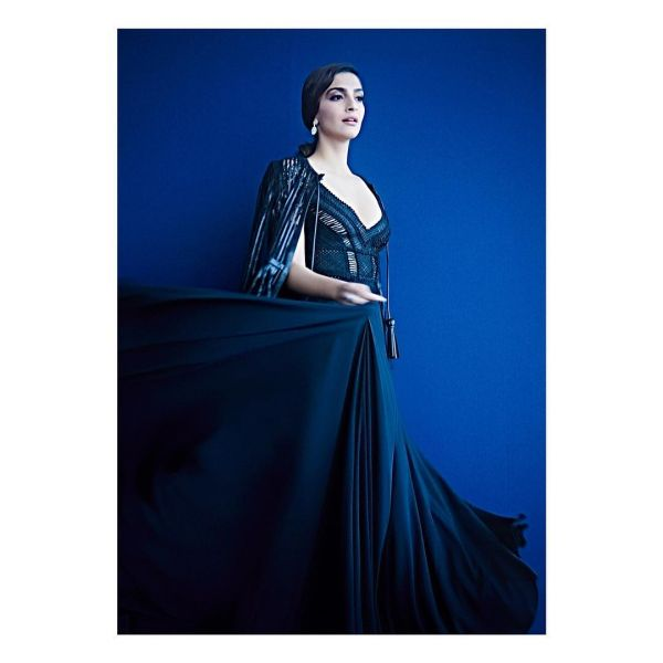 sonam in dubai black elie saab look