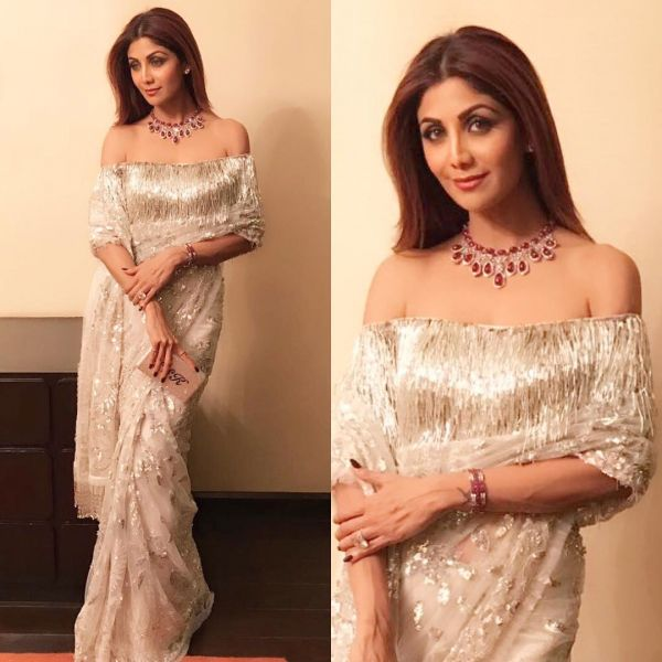 off shoulder pallu shilpa shetty in manish malhotra 3