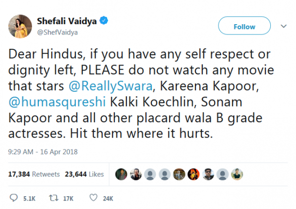 shefali vaidya's tweet for boycott veere di wedding