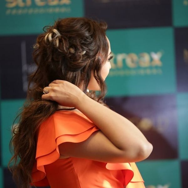 1 sonakshi sinha streax event hairstyle messy braided crown braid
