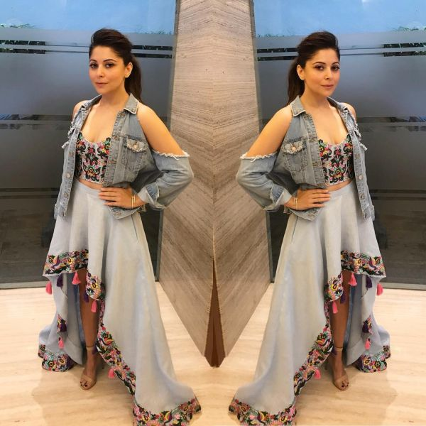 7 kanika kapoor - denim on denim skirt