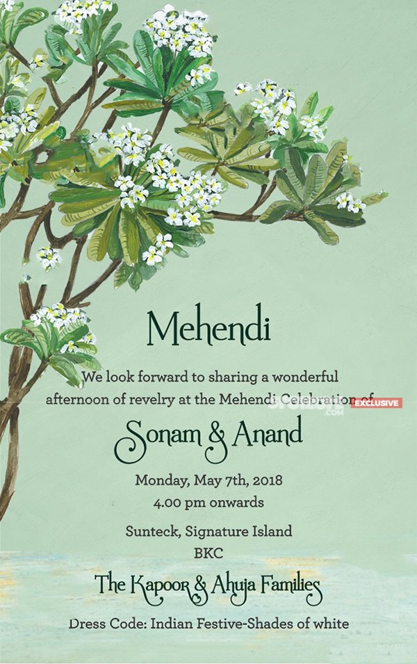 sonam anand wedding invite