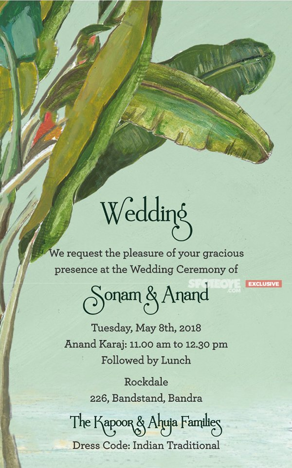 sonam anand wedding invite 2