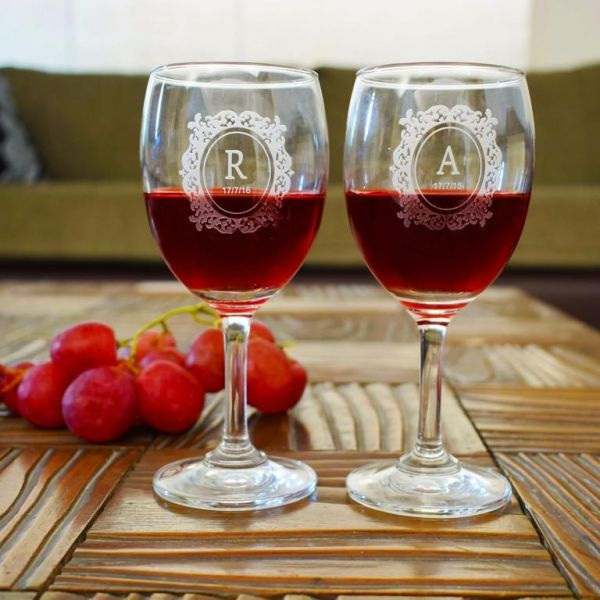 9. birthday gift ideas for boyfriend monogrammed wine glasses
