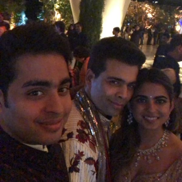 Karan johar ay isha ambani's engagement party
