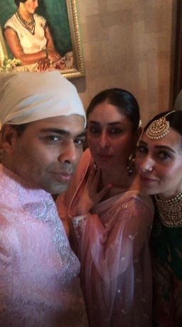 Karan johar with kareena kapoor khan and karisma kapoor at sonam's anand karaj