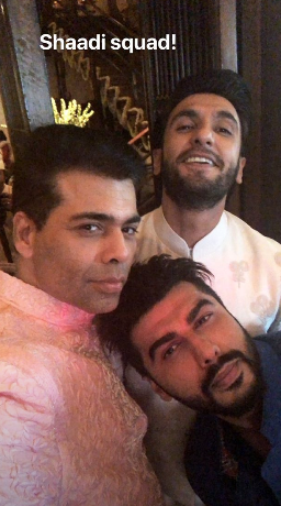 Karan johar with ranveer singh and arjun kapoor at sonam's anand karaj