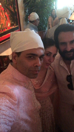Karan johar with saif ali khan at sonam's anand karaj
