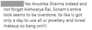 1 mean comment on sonam kapoors wedding