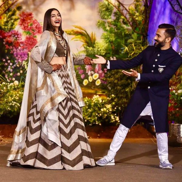 Sonam Kapoor ahuja with anand ahuja at her reception party