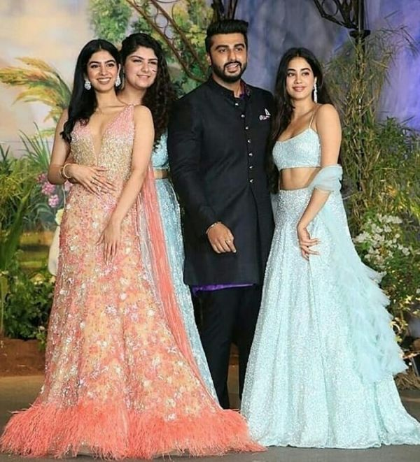 Khushi  janhvi  anshula and arjun kapoor at sonam kapoor's wedding