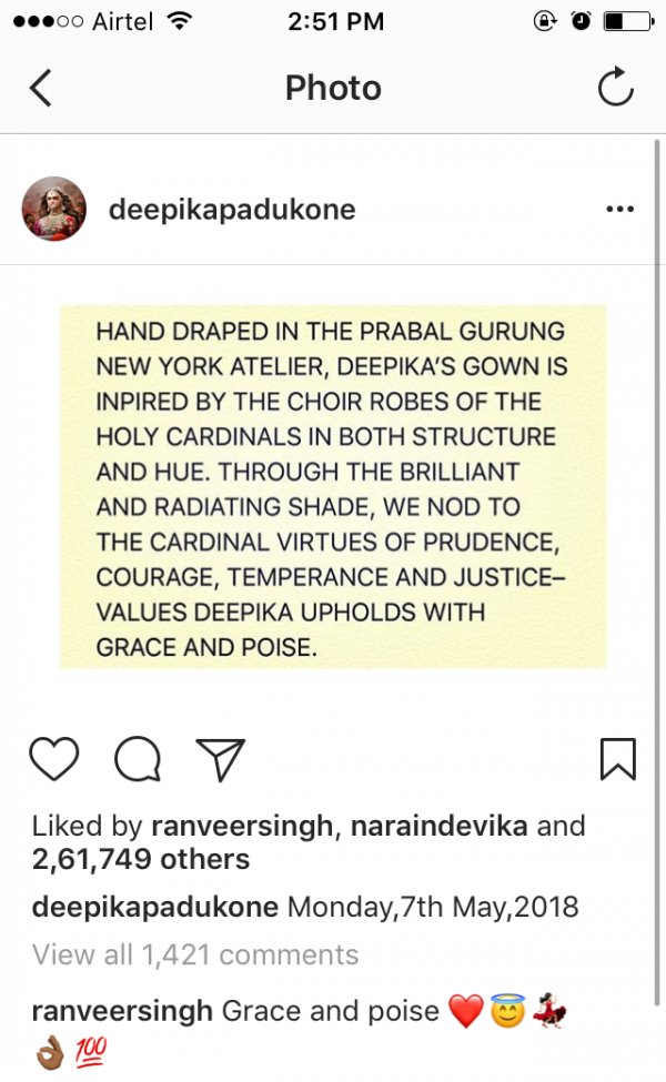 1 Ranveer singh's comment on deepika padukone's met gala post