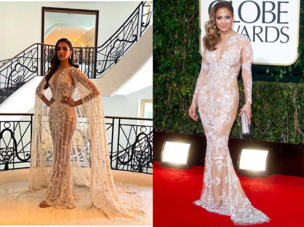 Deepika Jennifer Lopez Same Dress At Cannes And Golden Globes  2