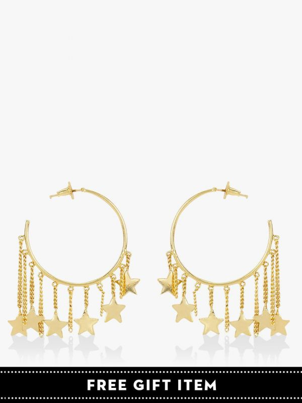 3. hoop earrings with star tassels