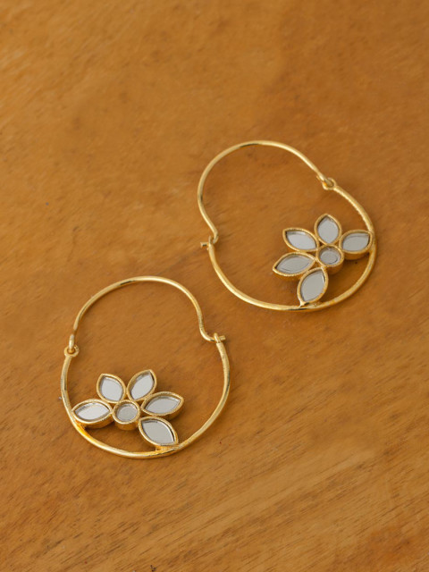 6. hoop earrings with flower detail