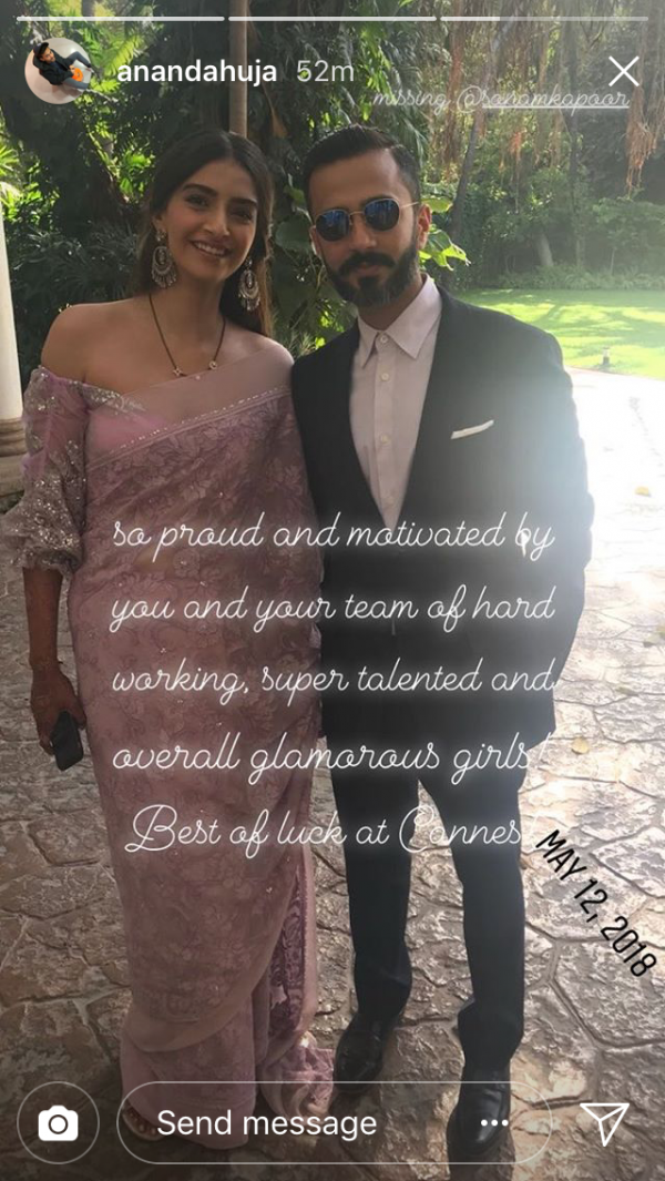 Anand ahuja's instagram story for wife sonam kapoor